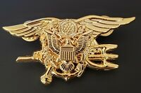 US Navy SEALS Special Warfare SEAL Team Trident Insignia AMERICAN EAGLE GOLD Pin