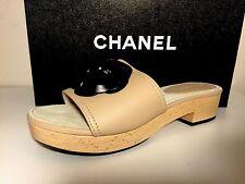 Chanel Beige Leather Wood Slides Mules Sandal Shoes 38M