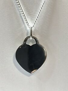925 REAL Sterling Silver Polished Heart Shaped Pendants DOG TAG + FREE ENGRAVING