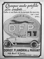 AD PRINT Original 1913 faithful and fast DFL automobiles DORIOT FLANDRIN PARANT
