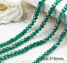 Diy Jewelry Faceted 1000pcs 3*4mm Rondelle glass Crystal Beads Grassgreen AB