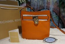 NWT Michael Kors HAMILTON TRAVELER Crossbody Bag Pebbled Leather TANGERINE $188