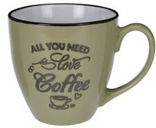 GRANDE IN CERAMICA STONEWARE Tazza da caffè-All you need is love e Caffè verde ~