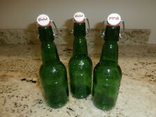 Three Empty GROLSCH BEER BOTTLES resealable bails for - green
