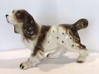"Vintage Cocker Spaniel Dog Figurine 10""x5"" Large BIG Brown White"