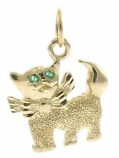 Small Kitten Charm with Emerald Eyes in 14kt Yellow Gold