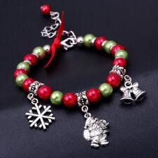 Weihnachten Serie Frauen Armbänder Schneeflocke Weihnachtsmann Anhänger Perlen