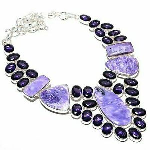 Charoite, Amethyst Gemstone Ethnic 925 Sterling Silver Jewelry Necklace 18""