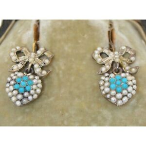 Victorian 14K Yellow Gold Over Pave Turquoise & Pearl Dangle Heart Bow Earrings
