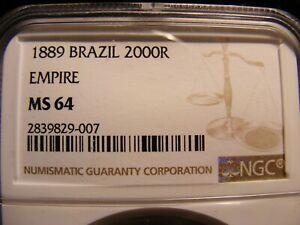 Brazil 1889 Large Silver 2,000 Reis, MS-64, NGC, Golden Tone Present, KM#485
