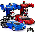 Set of 2 Remote Control Transforming Robot Car Toys One-Button Transformation