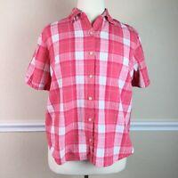 Krazy Kat Womens Top Pink Textured Plaid Short Sleeve Button Down Collar Size 2X