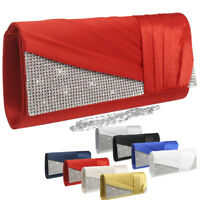 Satin Diamante Pleated Evening Clutch Bag Bridal Wedding Party Prom Diffe- Color