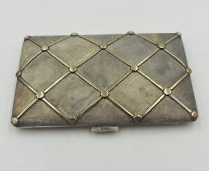 Cartier Rare Vintage Sterling Silver & 18k Yellow Gold Raised Quilted Card Case