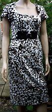 JULIEN MACDONALD Black White Animal Scatter Print  Back Pleat Dress Size 12