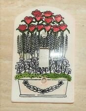Vintage All Fired Up Ceramic Switch Plate Roses in Flower Box 1 Switch w/Tag Euc