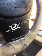 Per Mazda 323F ASTINA 94+ Volante in Pelle Beige COVER AZZURRO doppio st