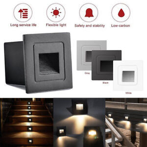 2pcs IP65 LED Recessed Stair Light Step Deck Lamp Wall Hall Porch Pathway Lights