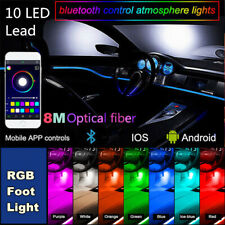 10x RGB LED Blueteeth Car Interior Under Dash Door Light w/ 8M Glass Fiber Strip