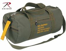 "Military Type Olive Drab Green Cotton Canvas 19"" Equipment Duffle Bag w/ Strap"