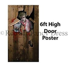 HALLOWEEN ZOMBIE SCARY DOOR POSTER FANCYDRESS HOUSE DECORATION ACCESSORY 6ftX3ft