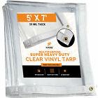 5' x 7' Clear Vinyl Tarp - Super Heavy Duty 20 Mil Transparent