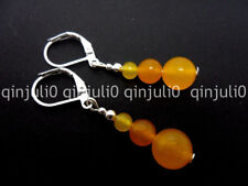 PAIR OF YELLOW JADE DANGLY LEVER BACK HOOK EARRINGS JE131