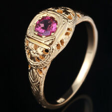Solid 18K Yellow Gold 4mm Round 0.3ct Rose Tourmaline Gemstone Ring Anniversary
