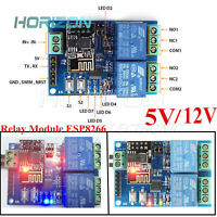WIFI Relay Module ESP8266 IOT APP Controller 5/12V 2-Channel For Smart Home