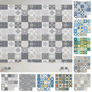 24-72PCS Moroccan Style Tile Effect Wall Stickers Kitchen Bathroom Self-Adhesive