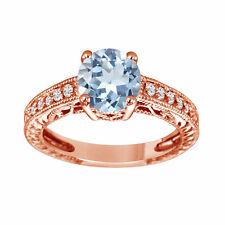 Blue Aquamarine Engagement Ring, With Diamonds Wedding Ring 14K Rose Gold 1.50ct