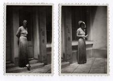 PHOTO ANCIENNE Femme Mode Vers 1930 Fashion Portrait Chapeau Gant Lunettes