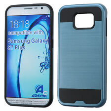 BLUE BLACK BRUSHED RUBBERIZED SKIN COVER CASE For SAMSUNG Galaxy S7 Pl