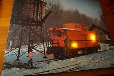 RED CABOOSE LIGHTED FLICKER FLAME Railroad Winter Train Lantern Sign Decor - NEW