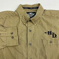 Harley-Davidson Button Up Shirt Mens Large Tan Brown Long Sleeve Cotton Striped