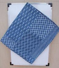 Indigo Blue Hand Block Print Kantha Quilt, Patchwork Cotton Bedspread,Twin Size.
