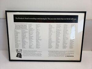 "Vintage 1998 Honda President's Award Dealership Poster Print Framed 22""x15"" USA"