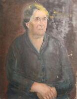 ANTIQUE IMPRESSIONIST OIL PAINTING OLD WOMAN PORTRAIT