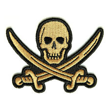Embroidered Gold Pirate Sword Skull Sew or Iron on Patch Biker Patch