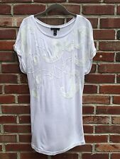 MANGO MNG Collection White Tunic Top Paisley Sequin Detail  S M Small* RARE!