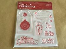 Docrafts Create Christmas Clear Stamp Set 10 Reusable Stamps Craft Cards Art