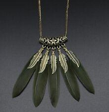 Women Vintage Feather Leaf Bronze Plated Tassel Pendants Bib Long Chain Necklace