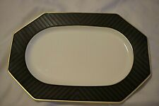 "VILLEROY & BOCH BLACK PEARL 13"" OVAL PLATTER BONE CHINA GOLD TRIM GERMANY"