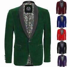 Mens Velvet Tuxedo Suit Jacket Black Shawl Lapel Blazer Smart Formal Dinner Coat
