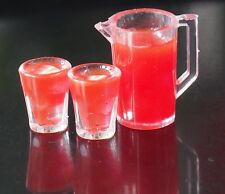 DOLLHOUSE MINIATURES STRAWBERRY JUICE JUG 2 CUPS ICED DRINK FOOD BEVERAGES DECO