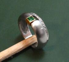Erstklassiger Design EDELSTAHL-RING m. 750er GOLD u. TURMALIN • 4,8 g •