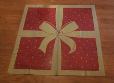 "Christmas Ribbon & Bow Table Topper 36""x36"" European Lace red gold NIP NEW"