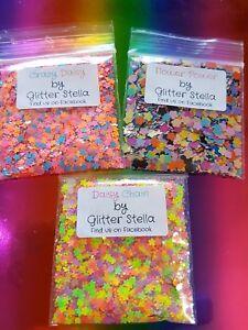 Nail Art Mixed Glitter 3X 5g Bags ( Flower Power ) Neon Festival Pink Daisy Blue