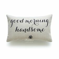 """Cushion Cover Heavy Weight His and Her Love Is All You Need Sweet Home 45cm Ivory Good Morning Handsome Lumbar 20""""x12"""""""