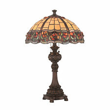 Table Lamp 2 Light Tiffany Victorian Craftsman Style Stained Glass Metal Stand